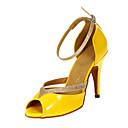 baratos Sapatos de Dança Latina-Mulheres Sapatos de Dança Latina / Dança de Salão Courino Salto Salto Personalizado Personalizável Sapatos de Dança Amarelo / Couro