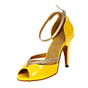 preiswerte Auto Lampen-Damen Schuhe für den lateinamerikanischen Tanz / Ballsaal Kunstleder Absätze Maßgefertigter Absatz Maßfertigung Tanzschuhe Gelb / Leder