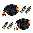abordables Accesorios de Seguridad-Cables 2Pcs 100ft Video Power Cables BNC RCA with Bonus Connectors para Seguridad sistemas 3000cm 1.8kg
