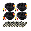 abordables Accesorios de Seguridad-Cables Videosecu 4 Pack 100ft Video Power Cables wires with 8 BNC RCA Connector para Seguridad sistemas 3000cm 2kg