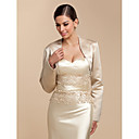cheap Wedding Wraps-Long Sleeve Satin Wedding / Party Evening / Casual Wedding  Wraps With Beading / Sequin Coats / Jackets