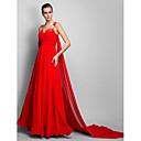 baratos Brincos-Linha A Decote V Cauda Corte Chiffon Evento Formal Vestido com Detalhes em Cristal / Franzido de TS Couture®