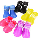 cheap Cat Toys-Dog Boots / Shoes Waterproof Rain Boots Solid Black Purple Yellow Red Blue For Pets
