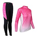 cheap Cycling Jersey & Shorts / Pants Sets-21Grams Women's Long Sleeve Cycling Jersey with Tights - Pink Bike Tights Clothing Suit Thermal / Warm Breathable 3D Pad Quick Dry Sports Elastane Gradient Mountain Bike MTB Road Bike Cycling