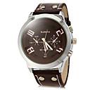 cheap Military Watches-Men's Quartz Military Watch Hot Sale PU Band Charm Dress Watch Black White Red Brown