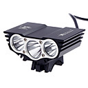 cheap Bike Frame Bags-Front Bike Light Headlight LED Cree® XM-L2 T6 3 Emitters 3000 lm 3 Mode Waterproof Rechargeable Compact Size Camping / Hiking / Caving Cycling / Bike Multifunction / Multiple Modes