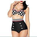preiswerte Synthetische Perücken ohne Kappe-Damen Bikinis - Druck, Punkt Halter / Bügel-BH / Hohe Taillenlinie