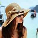 halpa Koristevalot-Naisten Vintage Hat-Yhtenäinen väri Klassinen tyyli / Olkihattu / Kesä / Hatut ja lakit / Aurinkohattu