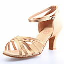 ieftine Pantofi Dans Latin-Pentru femei Pantofi Dans Latin / Sală Dans Satin Sandale Cataramă Toc Îndesat NePersonalizabili Pantofi de dans Șampanie / Piele