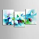 cheap Stretched Canvas Prints-Floral/Botanical Botanical Classic Realism, Three Panels Horizontal Print Wall Decor Home Decoration