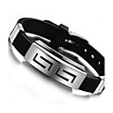 cheap Men's Bracelets-Men's ID Bracelet Silicone Titanium Steel Personalized Unique Design Bracelet Jewelry Black For Daily Casual