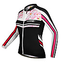 cheap Cycling Jerseys-SANTIC Women's Long Sleeve Floral / Botanical Bike Jacket Jersey Top Waterproof Thermal / Warm Windproof Sports Winter 100% Polyester Clothing Apparel / Stretchy / Breathable / Quick Dry / Breathable