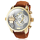 cheap Car Headlights-Men's Quartz Wrist Watch Military Watch Casual Watch Dual Time Zones Leather Band Charm Dress Watch Fashion Brown