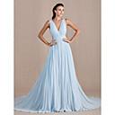 זול שמלות ערב-גזרת A צווארון V שובל כנסייה (צ'אפל) ג'ורג'ט ערב רישמי שמלה עם קפלים על ידי TS Couture®