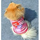 ieftine USB-Pisici Câine Tricou Îmbrăcăminte Câini Dungi Inimă Mov Roz Bumbac Costume Pentru animale de companie Bărbați Pentru femei Modă