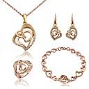 baratos Brincos-Mulheres Cristal Conjunto de jóias - Fashion Incluir Pulseiras em Correntes e Ligações Brincos Compridos Colares com Pendentes Dourado / Prata Para Diário / Anel de declaração