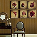 cheap Wall Art-Framed Canvas Framed Set Floral/Botanical Wall Art, PVC Material With Frame Home Decoration Frame Art Living Room Bedroom Dining Room