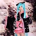 halpa Videopeli-asut-Innoittamana Vocaloid Hatsune Miku Anime Cosplay-asut Cosplay Puvut / Kimono Patchwork Pitkähihainen Hame / Päähine / Hihat Käyttötarkoitus Naisten Halloween-asut / Satiini