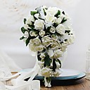 cheap Party Headpieces-Wedding Flowers Free-form Cascade Roses Bouquets Wedding Party/ Evening Foam