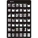billige Neglestempling-Smuk Neglekunst Manikyr pedikyr Metall Abstrakt / Klassisk / Tegneserie Daglig / stempling Plate