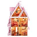 preiswerte Nachtleuchten-große Traumvilla diy hölzerne Puppenhaus inklusive aller Möbel