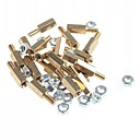 cheap Other Parts-Brass Threaded Stand-Off Hex Screw Pillars with Nuts (M3 x 10mm + 6 / 20-Piece)