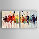 cheap POP Oil Paintings-Oil Painting Hand Painted - Abstract Comtemporary Canvas