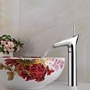 preiswerte Waschschalen und Aufsatz-Waschbecken-Moderne Becken Keramisches Ventil Ein Loch Einhand Ein Loch Chrom, Waschbecken Wasserhahn