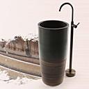 abordables Grifos de Bañera-Grifo de bañera - Clásico Latón Envejecido Montado en el suelo Válvula Cerámica