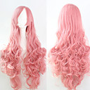 cheap Hair Accessories-Synthetic Wig Curly / Loose Wave / Natural Wave Pink Asymmetrical Haircut Synthetic Hair 25 inch Natural Hairline Pink Wig Women's Long Capless Pink
