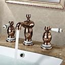 זול משדרים וכבלים-מסורתי סט מרכזי שתי ידיות שלושה חורים in זהב ורד חדר רחצה כיור ברז
