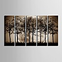 cheap Abstract Paintings-E-HOME® Stretched Canvas Art The Night Under The Shadows of The Trees Decoration Painting  Set of  5