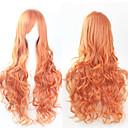 hesapli Sentetik Kapsız Peruklar-Sentetik Peruklar Bukle Asimetrik Saç Kesimi Sentetik Saç Doğal saç çizgisi Altın Peruk Kadın's Uzun Bonesiz