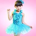 abordables Ropa de Baile para Niños-Baile Latino Vestidos Rendimiento Poliéster Flor Sin Mangas Cintura Media / Danza Latina / Desempeño