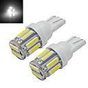 billige LED-lyspærer-1W 100-150 lm T10 Dekorations Lys 10 leds SMD 7020 Kjølig hvit DC 12 V