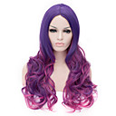 cheap Christmas Party Supplies-Synthetic Wig Curly Asymmetrical Haircut / With Bangs Synthetic Hair Natural Hairline Purple Wig Women's Long Capless Purple