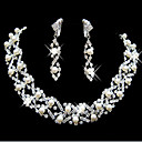 cheap Jewelry Sets-Pearl Tassel Jewelry Set - Pearl, Cubic Zirconia, Silver Plated Party, Fashion, Bridal Include White For Wedding Party Special Occasion / Earrings / Necklace