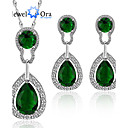 cheap Jewelry Sets-Cubic Zirconia Jewelry Set - Gold Plated Fashion, Elegant Include Green For Party / Special Occasion / Anniversary / Earrings / Necklace