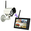 "cheap Synthetic Capless Wigs-NEW Wireless 4CH Quad DVR 1 Cameras with 7"" TFT-LCD Monitor Home security system"