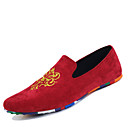 cheap Men's Slip-ons & Loafers-Men's Moccasin Suede Spring / Fall Chinoiserie Loafers & Slip-Ons Walking Shoes Black / Red / Blue