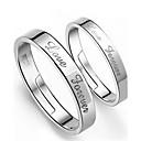 baratos Anéis-Homens Mulheres Anéis de Casal A B Prata de Lei Prateado Fashion Casamento Festa Noivado Diário Casual Jóias de fantasia