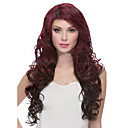 cheap Synthetic Capless Wigs-Synthetic Wig Curly Asymmetrical Haircut Synthetic Hair Natural Hairline Burgundy Wig Women's Long Capless