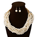 cheap Jewelry Sets-Women's Layered Jewelry Set Pearl Chinese Knot Statement, Ladies, Vintage, Party, Work, Casual Include Statement Necklace Pearl White For Wedding Party Special Occasion
