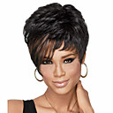 cheap Synthetic Capless Wigs-Synthetic Wig Straight Pixie Cut / With Bangs Synthetic Hair Highlighted / Balayage Hair / Side Part Black Wig Women's Short Capless