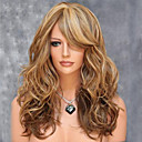 cheap High Quality Duvet Covers-Synthetic Wig Body Wave Style With Bangs Capless Wig Blonde Brown Synthetic Hair Women's Highlighted / Balayage Hair / Side Part Blonde Wig Medium Length Halloween Wig