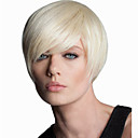 cheap Synthetic Capless Wigs-Synthetic Wig Women's Straight White Asymmetrical Synthetic Hair Natural Hairline White Wig Short Capless Blonde