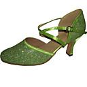 billige Moderne sko-Kan spesialtilpasses-Dame-Dansesko-Latinamerikansk Moderne Standard sko-Glimtende Glitter-Kustomisert hæl-Grønn