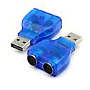 olcso USB-USB 2.0 a ps2 ps / 2 átalakító adapter csatlakozó pc egér billentyűzet kék