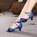 abordables Zapatos de Baile Latino-Mujer Zapatos de Baile Latino Lentejuelas / Cuero Patentado Tacones Alto Hebilla Tacón Cubano No Personalizables Zapatos de baile Plata / Azul / Oro / Entrenamiento