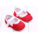 baratos Sapatos de Bebês-Para Meninas Sapatos Tecido Primavera Verão Primeiros Passos Rasos Flor / Velcro para Vermelho / Rosa / Laranja